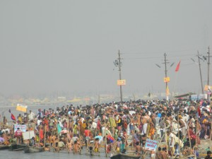 Taking bath at the banks of mother ganga in kumbh mela 2013
