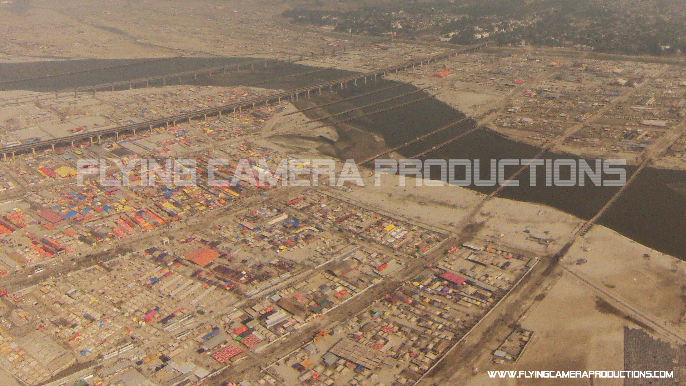 Aerial view of tents in kumbh mela