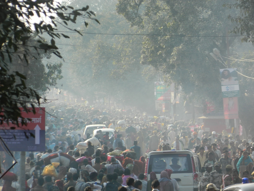 Devotees leaving kumbh mela area