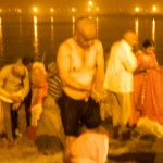 Taking sand from the banks of Ganga which purifies